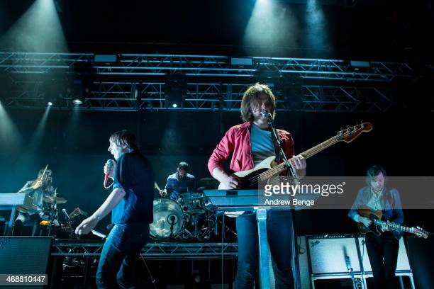 Thomas Mars Deck D'Arcy and Christian Mazzalai of Phoenix perform on stage at Manchester Academy on February 11 2014 in Manchester United Kingdom