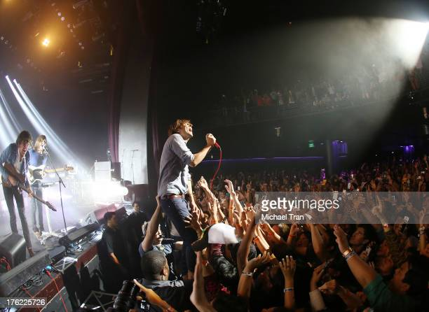 Thomas Mars Deck d'Arcy Chris Mazzalai and Laurent Brancowitz of Phoenix perform onstage at the benefit concert for The GRAMMY Foundation's GRAMMY In...
