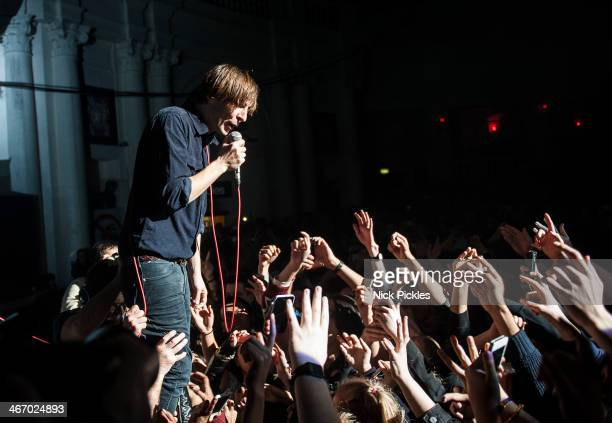 Thomas Mars of Phoenix performs at Brixton Academy on February 5 2014 in London England