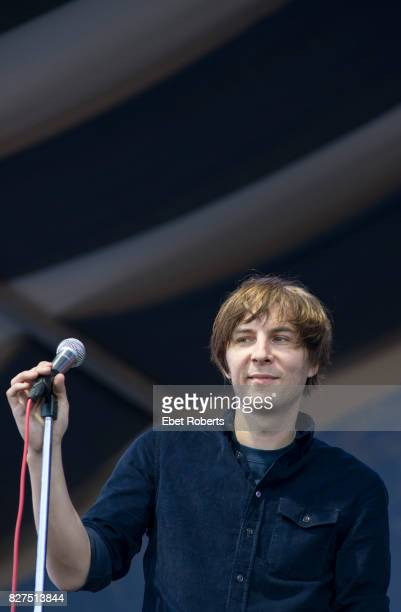 Thomas Mars of Phoenix performs at the New Orleans Jazz and Heritage Festival at the Fairgrounds Race Course in New Orleans Louisiana on May 4 2013