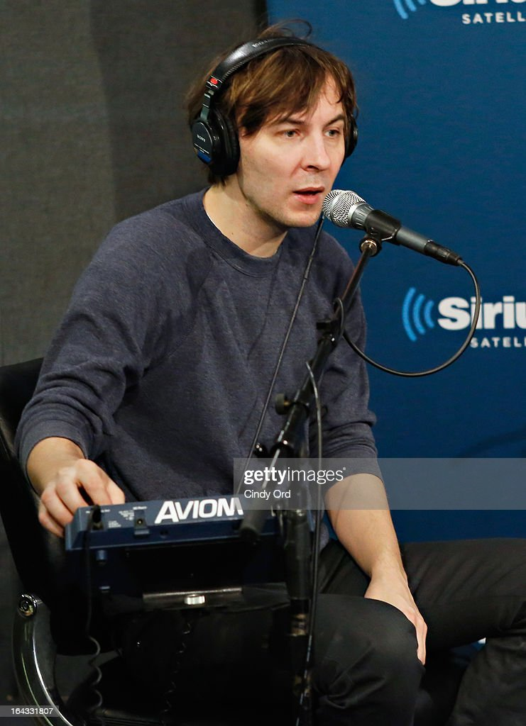 Thomas Mars of Phoenix performs at the SiriusXM Studios on March 22, 2013 in New York City.