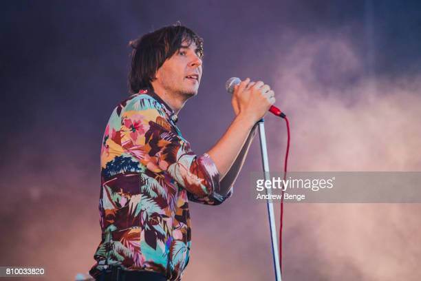 Thomas Mars of Phoenix performs during day 1 of NOS Alive on July 6 2017 in Lisbon Portugal
