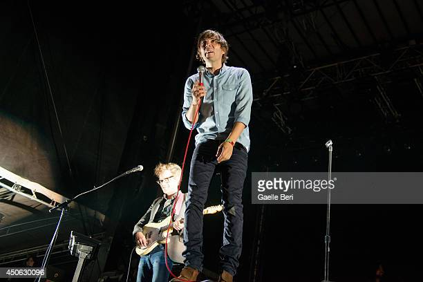 Thomas Mars of Phoenix performs on stage at Bonnaroo Music And Arts Festival on June 13 2014 in Manchester United States