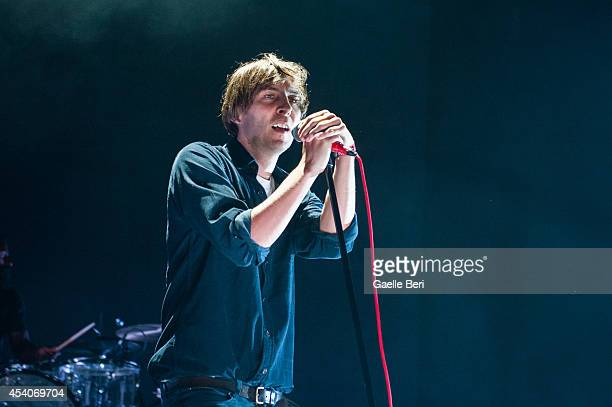 Thomas Mars of Phoenix performs on stage at FYF Festival at LA Sports Arena on August 23 2014 in Los Angeles United States