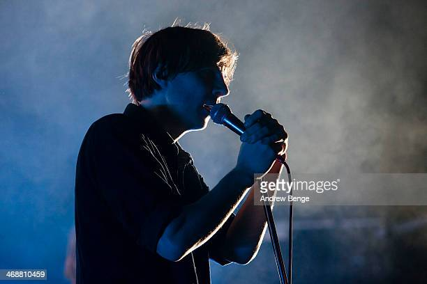 Thomas Mars of Phoenix performs on stage at Manchester Academy on February 11 2014 in Manchester United Kingdom