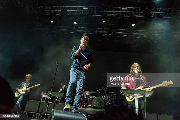 Thomas Mars of Phoenix performs onstage at LA Sports Arena Exposition Park on August 23 2014 in Los Angeles California