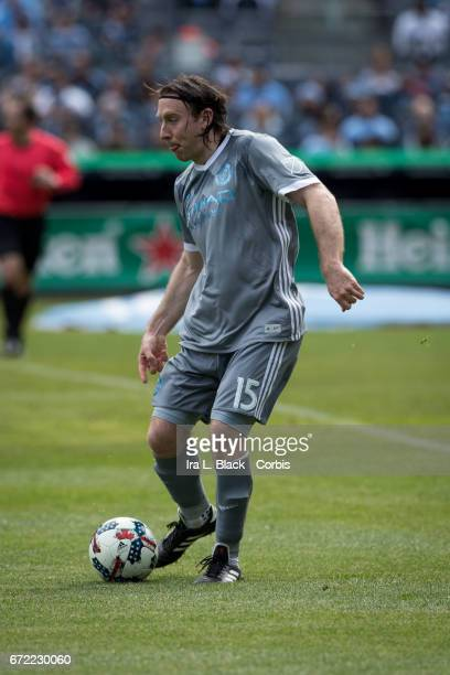 Thomas McNamara of New York City FC looks for the open man during the MLS match between New York City FC vs Orlando City SC on April 23 2017 at...