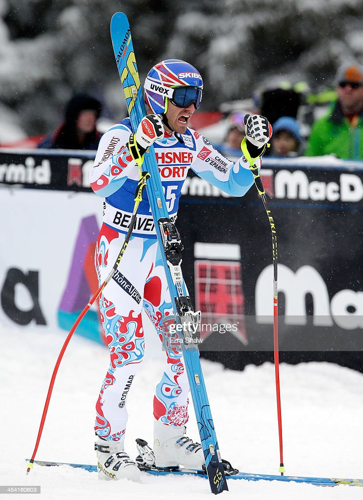 Thomas Mermillod Blondin of France reacts after his run in the 2013 Audi FIS Beaver Creek World Cup Men's Super G race on December 7, 2013 in Beaver Creek, Colorado.