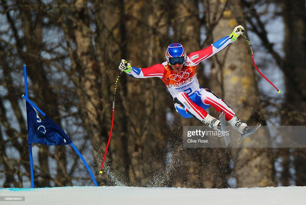 Thomas Mermillod Blondin of France skis during the Alpine Skiing Men's Super-G on day 9 of the Sochi 2014 Winter Olympics at Rosa Khutor Alpine Center on February 16, 2014 in Sochi, Russia.