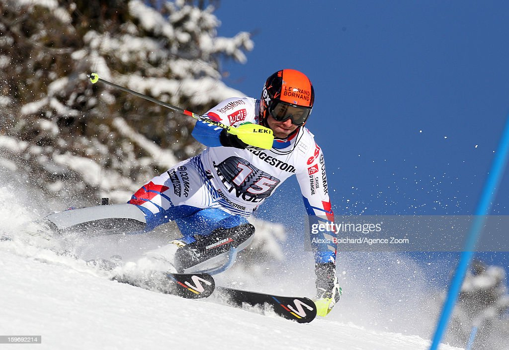 Thomas Mermillod-Blondin of France competes during the Audi FIS Alpine Ski World Cup Men's Super Combined on January 18, 2013 in Wengen, Switzerland.