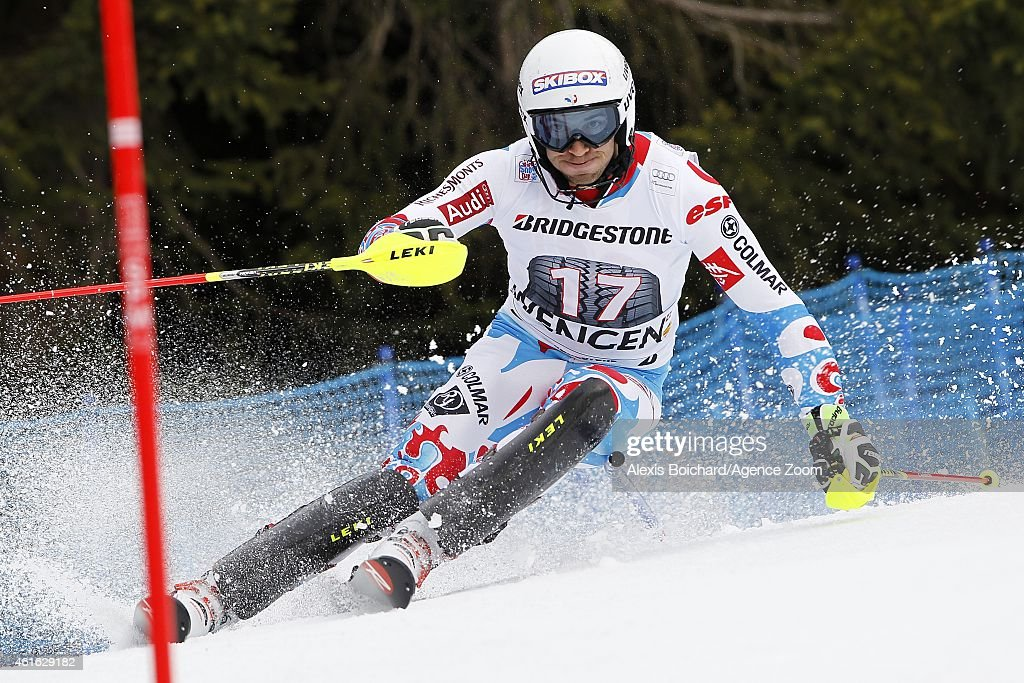 <a gi-track='captionPersonalityLinkClicked' href=/galleries/search?phrase=Thomas+Mermillod-Blondin&family=editorial&specificpeople=5679730 ng-click='$event.stopPropagation()'>Thomas Mermillod-Blondin</a> of France competes during the Audi FIS Alpine Ski World Cup Men's Super Combined on January 16, 2015 in Wengen, Switzerland.