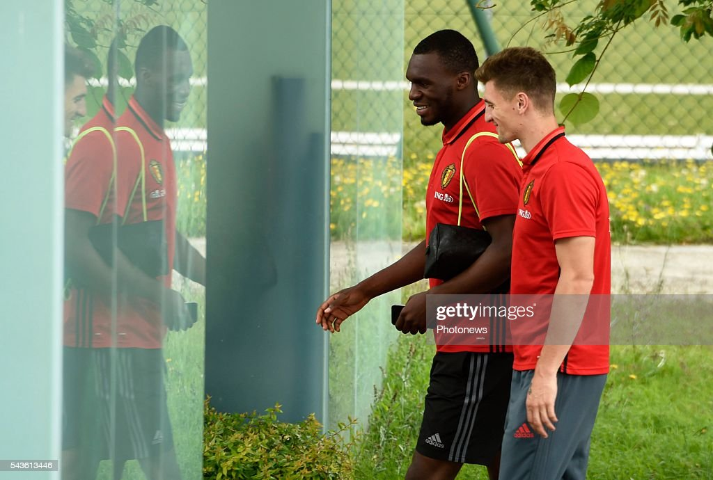 Thomas Meunier defender of Belgium and Christian Benteke forward of Belgium before a closed training session of the National Soccer Team of Belgium as part of the preparation prior to the UEFA EURO 2016 quarter final match between Wales and Belgium at the Chateau de Haillan training center on June 29, 2016 in Bordeaux, France ,