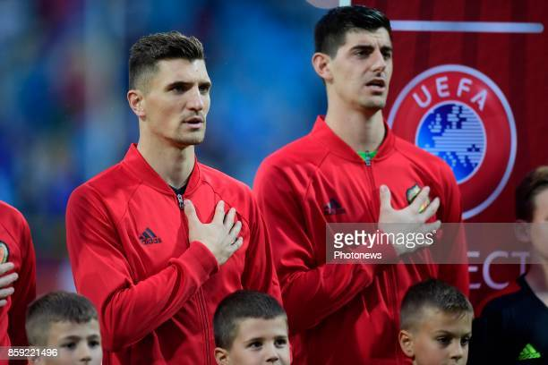 Thomas Meunier defender of Belgium and Thibaut Courtois goalkeeper of Belgium pictured during the national anthem before the World Cup Qualifier...