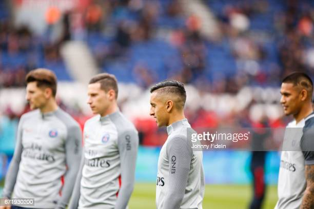 Thomas Meunier Julian Draxler Marquinhos and Alphone Areola of Paris Saint Germain during the French Ligue 1 match between Paris Saint Germain and...