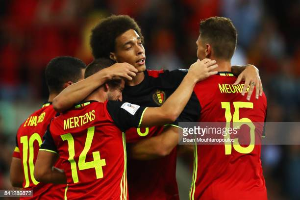 Thomas Meunier of Belgium celebrates scoring a goal with team mateDries Mertens Axel Witsel and Eden Hazard during the FIFA 2018 World Cup Qualifier...