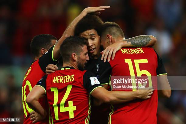 Thomas Meunier of Belgium celebrates scoring a goal with team mates Dries Mertens Axel Witsel and Eden Hazard during the FIFA 2018 World Cup...
