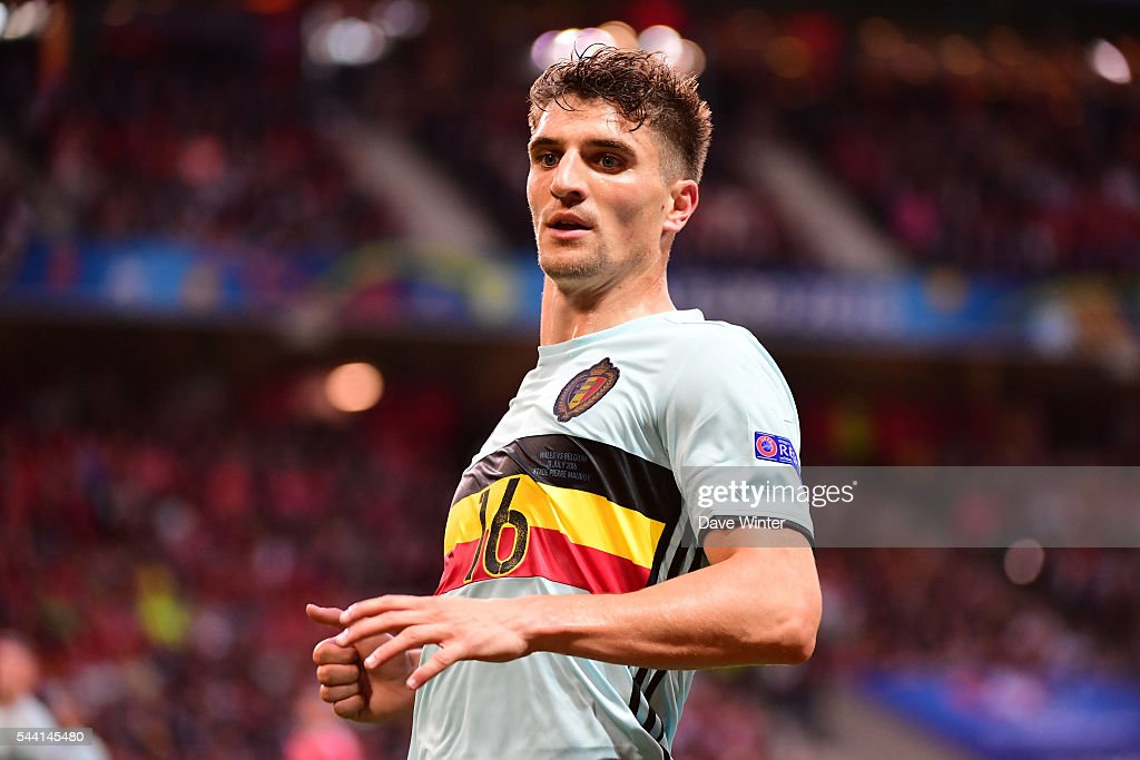 Thomas Meunier of Belgium during the UEFA Euro 2016 Quater Final between Wales and Belgium at Stade Pierre-Mauroy on July 1, 2016 in Lille, France.