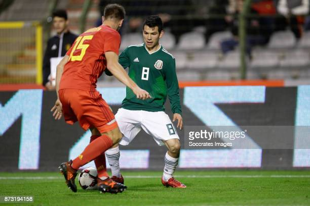 Thomas Meunier of Belgium Hirving Lozano of Mexico during the International Friendly match between Belgium v Mexico at the Koning Boudewijnstadion on...