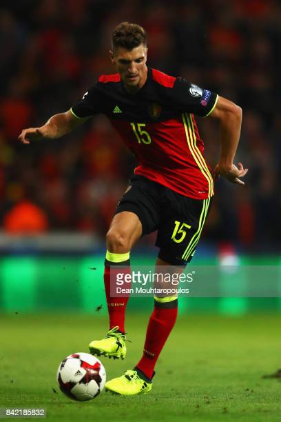 Thomas Meunier of Belgium in action during the FIFA 2018 World Cup Qualifier between Belgium and Gibraltar at Stade Maurice Dufrasne on August 31...