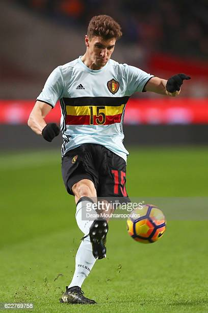 Thomas Meunier of Belgium in action during the international friendly match between Netherlands and Belgium at Amsterdam Arena on November 9 2016 in...