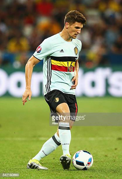 Thomas Meunier of Belgium in action during the UEFA EURO 2016 Group E match between Sweden and Belgium at Allianz Riviera Stadium on June 22 2016 in...