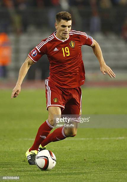 Thomas Meunier of Belgium in action during the UEFA EURO 2016 qualifier match between Belgium and Israel at King Baudouin Stadium on October 13 2015...
