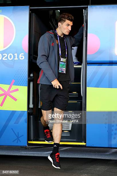 Thomas Meunier of Belgium is seen on arrival at the stadium prior to the UEFA EURO 2016 round of 16 match bewtween Hungary and Belgium at Stadium...