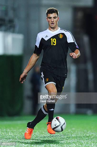 Thomas Meunier of Belgium runs with the ball during the UEFA EURO 2016 Qualifier match between Andorra and Belgium at Estadi Nacional d'Andorra la...