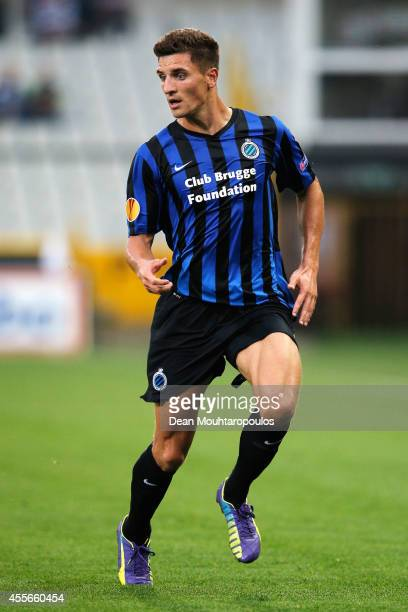 Thomas Meunier of Brugge in action during the Group B UEFA Europa League match between Club Brugge KV and Torino FC at the Jan Breydelstadion on...