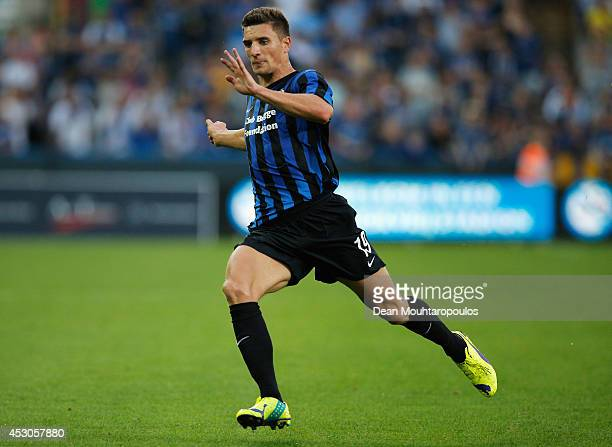 Thomas Meunier of Brugge in action during the UEFA Europa League 3rd qualifying round first leg match between Club Brugge KV and Brondby IF at the...