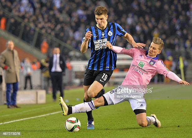 Thomas Meunier of Club Brugge in action against Maxime Colin of Anderlecht during the Belgian Cup final between Club Brugge and RSC Anderlecht at the...