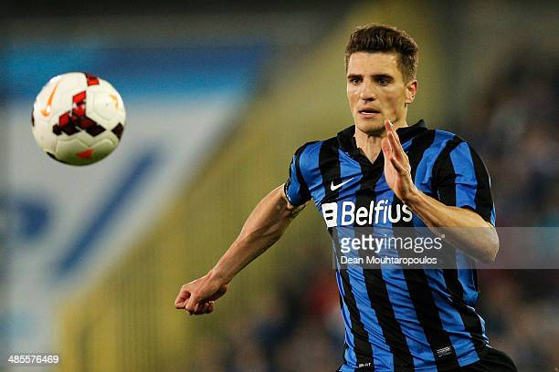 Thomas Meunier of Club Brugge in action during the Jupiler League match between Club Brugge v Racing Genk at the Jan Breydel Stadium on April 16 2014...
