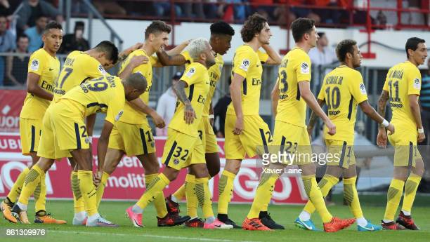 Thomas Meunier of Paris SaintGermain celebrate his second goal with Neymar Jr and teammattes during the Ligue 1 match between Dijon FCO and Paris...