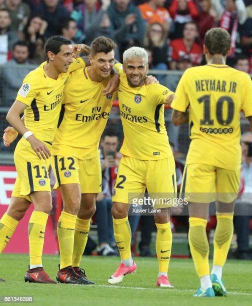 Thomas Meunier of Paris SaintGermain celebrate his second goal with Neymar Jr Angel Di Maria and Dani Alves during the Ligue 1 match between Dijon...