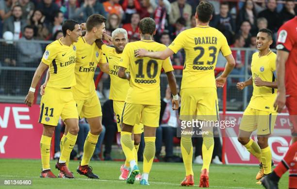 Thomas Meunier of Paris SaintGermain celebrate his second goal with Neymar Jr and teammattes during the Ligue 1 match between Dijon FCO and Paris...