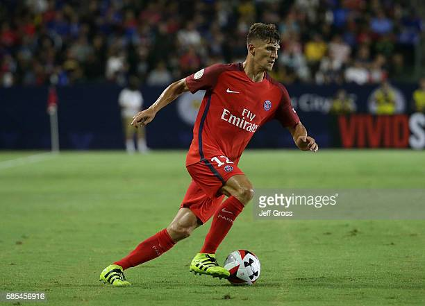 Thomas Meunier of Paris SaintGermain in action against Leicester City during the 2016 International Champions Cup at StubHub Center on July 30 2016...