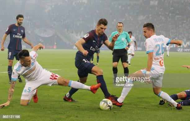 Thomas Meunier of Paris SaintGermain in action during the Ligue 1cmatch between Olympique Marseille and Paris Saint Germain at Orange Velodrome on...