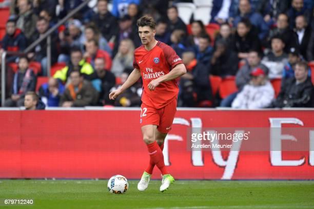Thomas Meunier of Paris SaintGermain runs with the ball during the Ligue 1 match between Paris SaintGermain and Bastia at Parc des Princes on May 6...