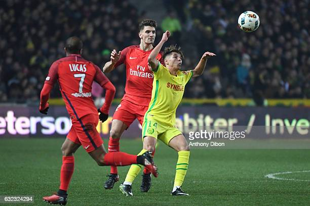 Thomas Meunier of PSG and Amine Harit of Nantes during the French Ligue 1 match between Nantes and Paris Saint Germain at Stade de la Beaujoire on...