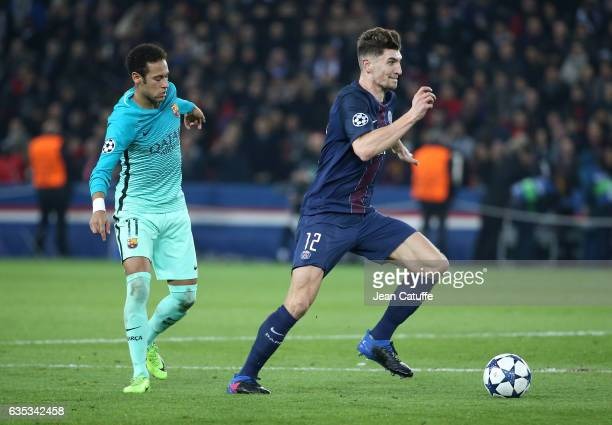 Thomas Meunier of PSG and Neymar Jr of FC Barcelona in action during the UEFA Champions League Round of 16 first leg match between Paris SaintGermain...