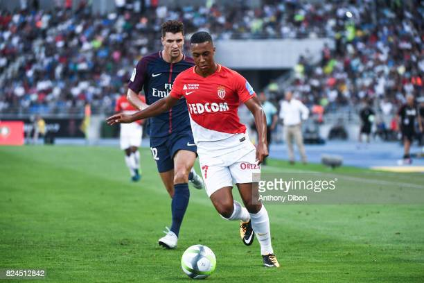 Thomas Meunier of PSG and Youri Tielemans of Monaco during the Champions Trophy match between Monaco and Paris Saint Germain at Stade IbnBatouta on...