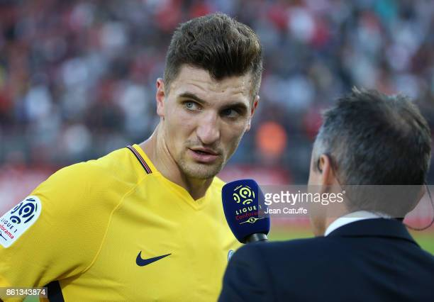 Thomas Meunier of PSG answers to Canal Plus during the French Ligue 1 match between Dijon FCO and Paris Saint Germain at Stade Gaston Gerard on...