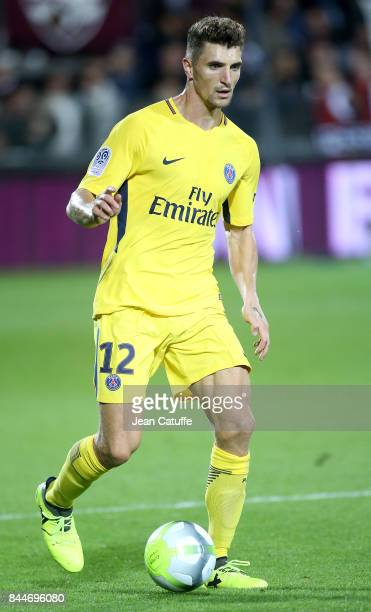 Thomas Meunier of PSG during the French Ligue 1 match between FC Metz and Paris Saint Germain at Stade SaintSymphorien on September 9 2017 in Metz...