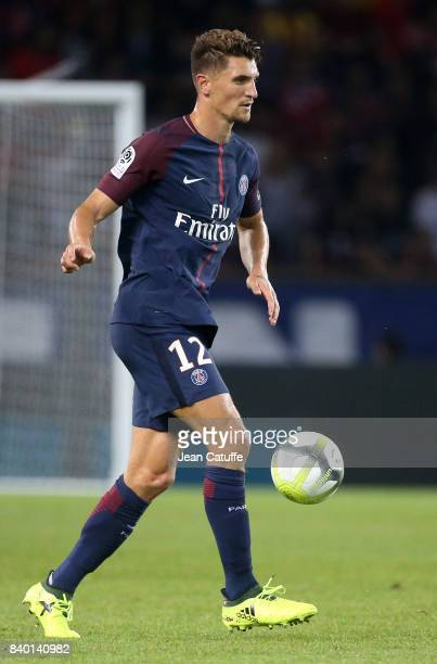 Thomas Meunier of PSG during the French Ligue 1 match between Paris Saint Germain and AS SaintEtienne at Parc des Princes on August 25 2017 in Paris...