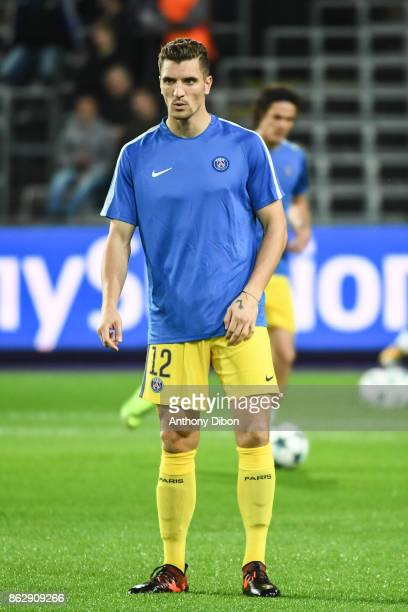 Thomas Meunier of PSG during the UEFA Champions League match between RSC Anderlecht and Paris SaintGermain at Constant Vanden Stock Stadium on...
