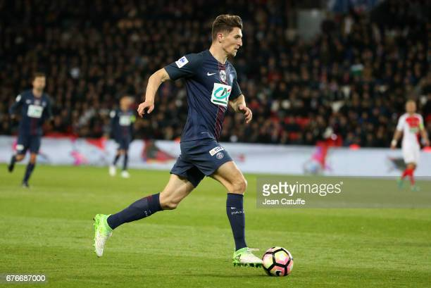 Thomas Meunier of PSG in action during the French Cup semifinal match between Paris SaintGermain and AS Monaco at Parc des Princes stadium on April...