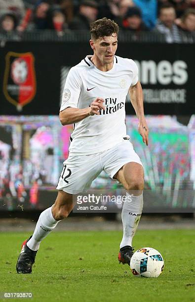 Thomas Meunier of PSG in action during the French Ligue 1 match between Stade Rennais FC and Paris SaintGermain at Roazhon Park stadium on January 14...