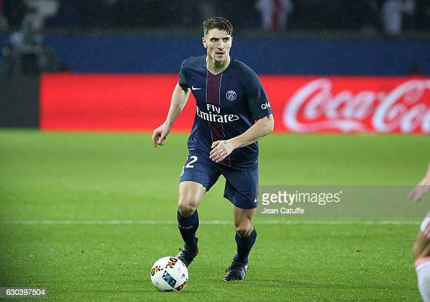 Thomas Meunier of PSG in action during the French Ligue 1 match between Paris SaintGermain and FC Lorient at Parc des Princes stadium on December 21...