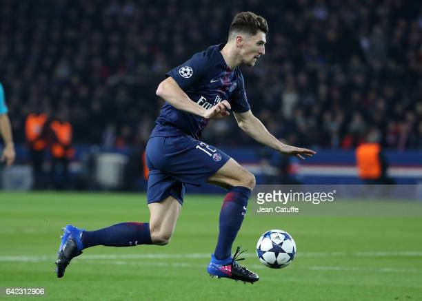 Thomas Meunier of PSG in action during the UEFA Champions League Round of 16 first leg match between Paris SaintGermain and FC Barcelona at Parc des...