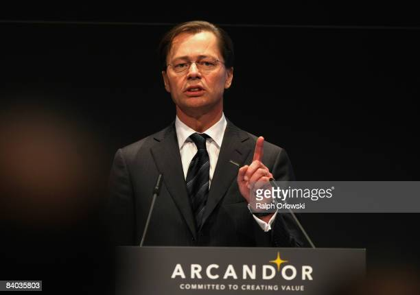 Thomas Middelhoff CEO of German department store company Arcandor AG speaks during the annual results press conference for 2008 on December 15 2008...